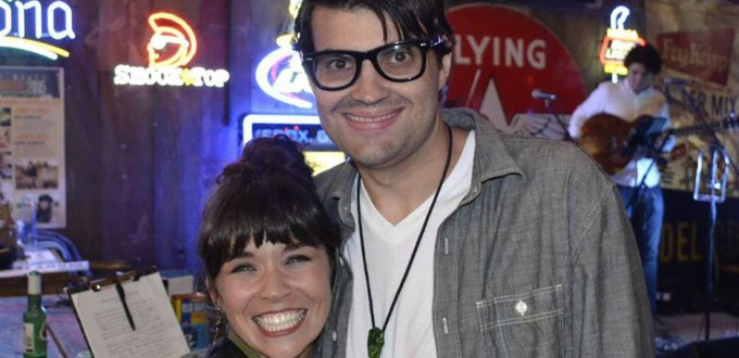 Daniel Owen smiling with singer of Mary Jennings.
